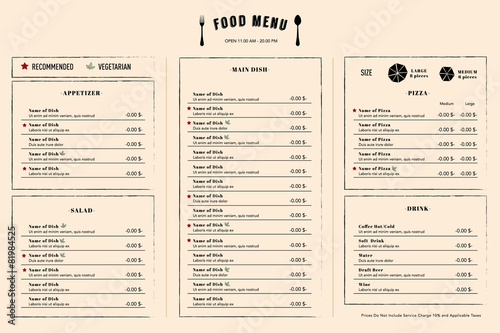 Restaurant Menu Design Template layout with logo - 81984525