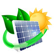 Solar panel with green leafs, renewable energy concept. Vector i