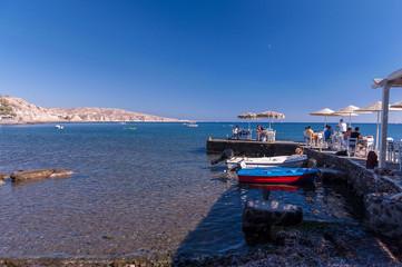 Santorini taverns on the beach