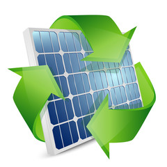 Solar panel with recycle symbol. Vector illustration