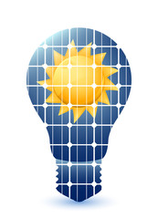 Light bulb with solar panels texture and sun. Vector