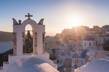 Church in Firostefani during a sunset, Santorini