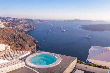Pool with a view on Santorini, Greece