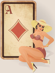 Diamonds poker card with pin up sexy girl, vector illustration