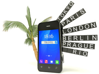 3d smartphone airport board, isolated white background, 3d image