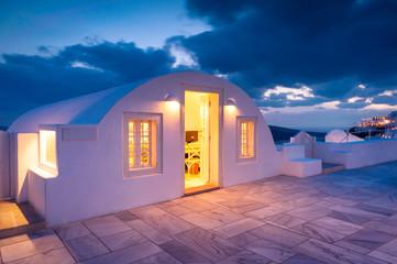 House on Santorini in the night