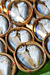 Steamed Mackerel Fish In Bamboo Basket