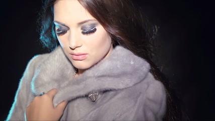 Fashion Model Girl in Blue Mink Fur Coat