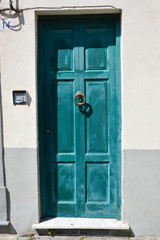 Porta in legno verde, ingresso casa