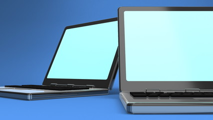 Closeup Of Laptop On Blue Background