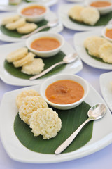 Jasmine Rice Crackers and coconut meat sauce