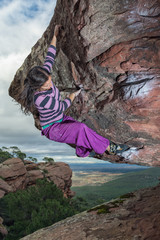 beautiful girl climbing