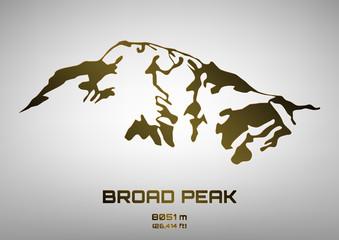 Outline vector illustration of bronze Broad Peak