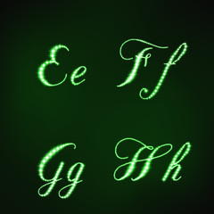 Illustration of green stars style of letters EFGH