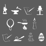 set of traditional craftsmanships/arts icons poster