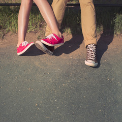 male and female couples in love feet