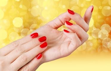 Fingernail. Manicured nails