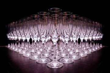Group of empty champagne glasses