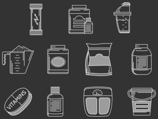 Sports supplements white line icons set