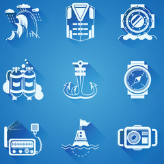 Marine elements white icons