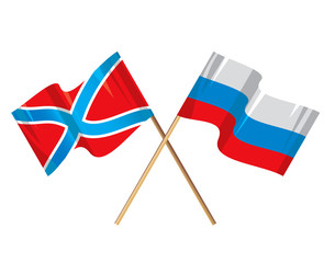 Novorossia & Russia flags vector