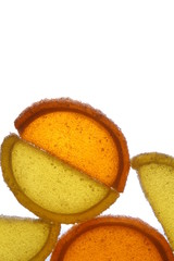 Citrus candy on white background
