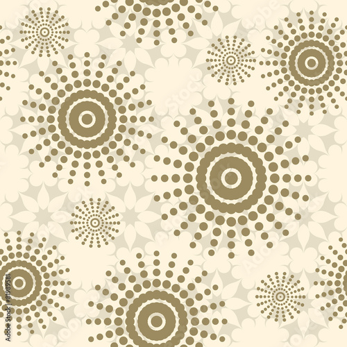 Beige seamless pattern with flowers, circles and dots. Seamless © Falcon Eyes