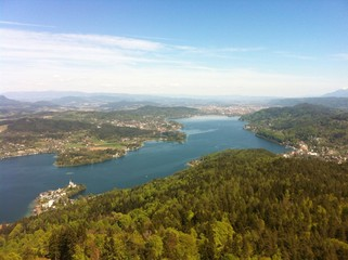 View From Pyramidenkogel Observation Tower To Lake Woerth