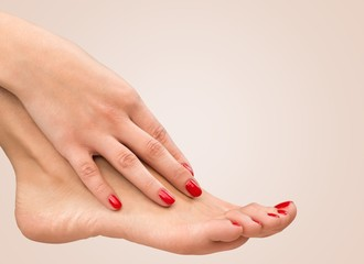 Closeup. Closeup photo of a female feet with beautiful red