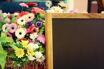 Blackboard with flowers