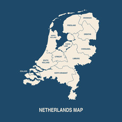 NETHERLANDS MAP with regions flat design illustration vector