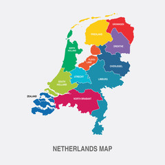 NETHERLANDS MAP colored regions flat design illustration vector