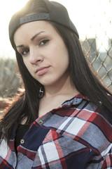 close portrait of a teen outside