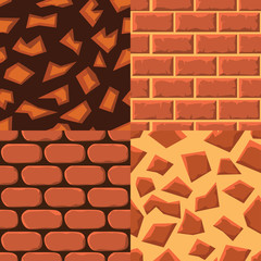 Vector cartoon seamless texture collection of bricks and ground