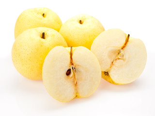 Asian pears sliced open presentation isolated