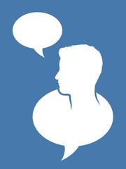 Male head inside a speech bubble