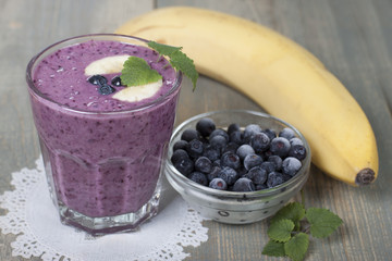 Smoothies of frozen   blueberries and banana with yogurt.