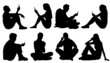 sitting poeple use smartphone silhouettes - 81992171