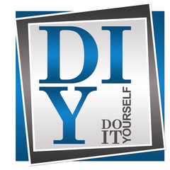 DIY - Do It Yourself Blue Grey Square
