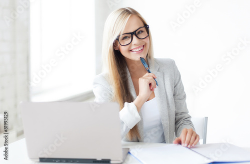 businesswoman with documents - 81993129