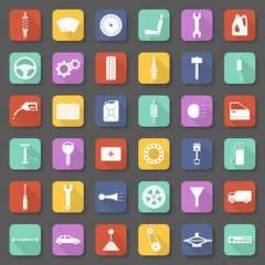 Car parts icons set in flat style.