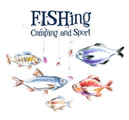 fish vector logo design template.  fishing or sport icon.