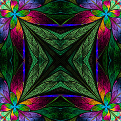 Symmetrical multicolored flower pattern in stained-glass window