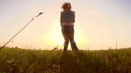 Beauty teen girls having fun outdoors. Slow motion video