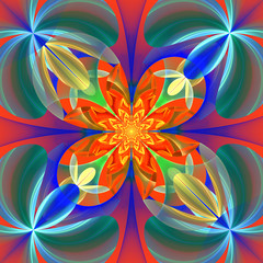 Symmetrical pattern of the flower petals. Blue and orange palett