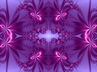 Flower pattern in fractal design. Violet and purple palette. Com