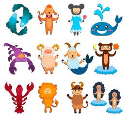Set of zodiac signs.