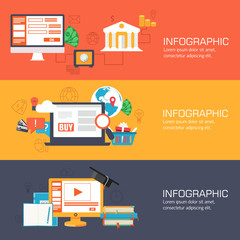 set of web internet technology of business, online banking and e
