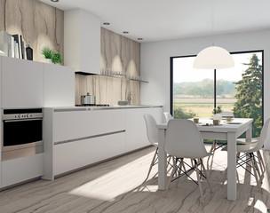 weisse Küche mit Holzelementen aus Olivenbaum