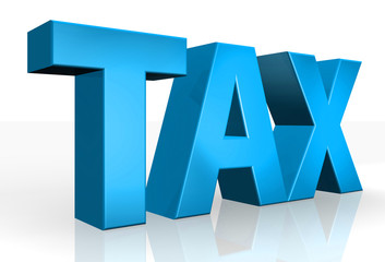 3D Tax text on white background